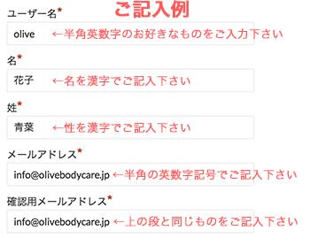 ユーザー登録記入例